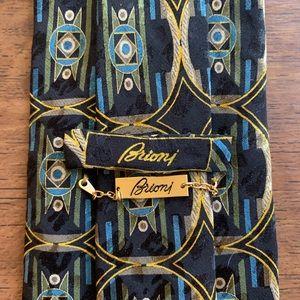 Brioni Classic Multicolored Hand Printed Silk Tie